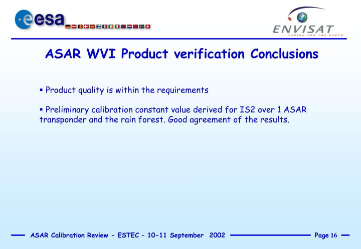 ASAR WVI Product verification Conclusions