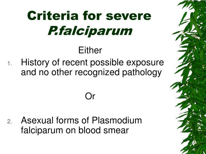Criteria for severe
