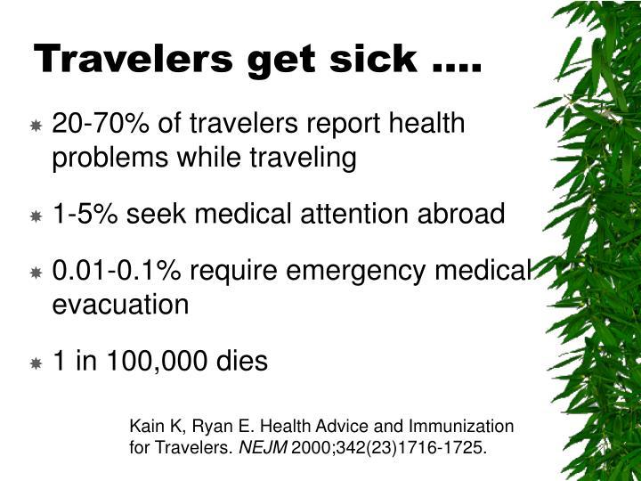 Travelers get sick ….