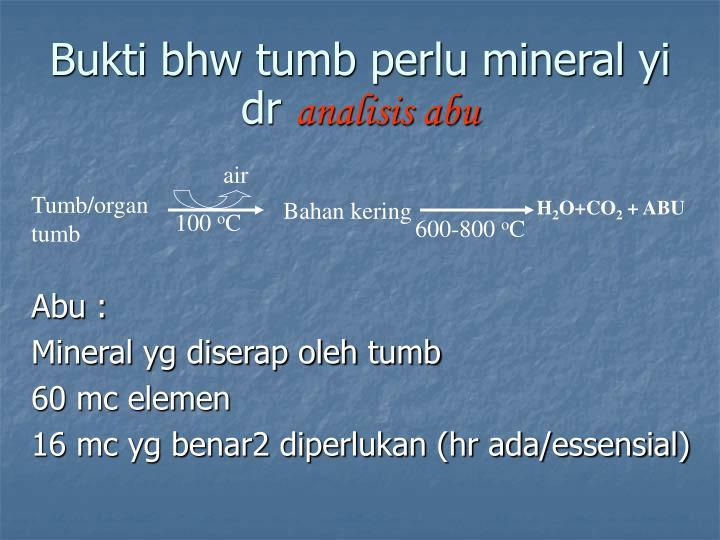 Bukti bhw tumb perlu mineral yi dr