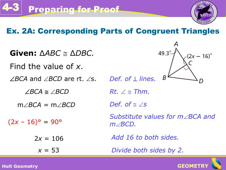 Ex. 2A: Corresponding Parts of Congruent Triangles