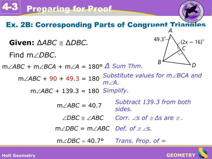 Ex. 2B: Corresponding Parts of Congruent Triangles
