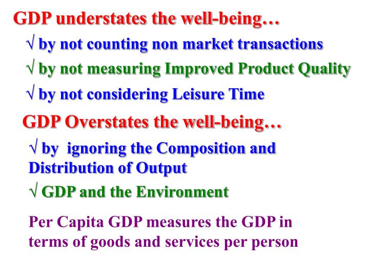 GDP understates the well-being…
