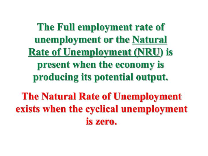 The Full employment rate of unemployment or the