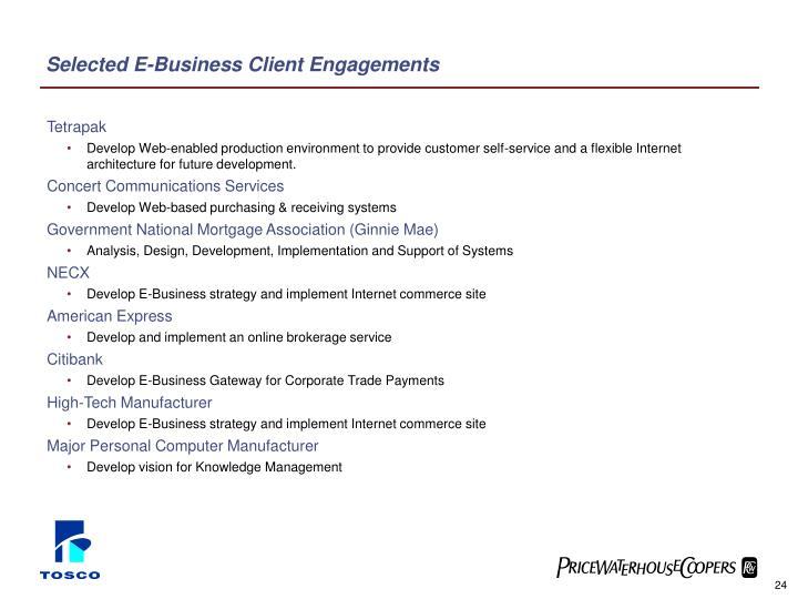 Selected E-Business Client Engagements