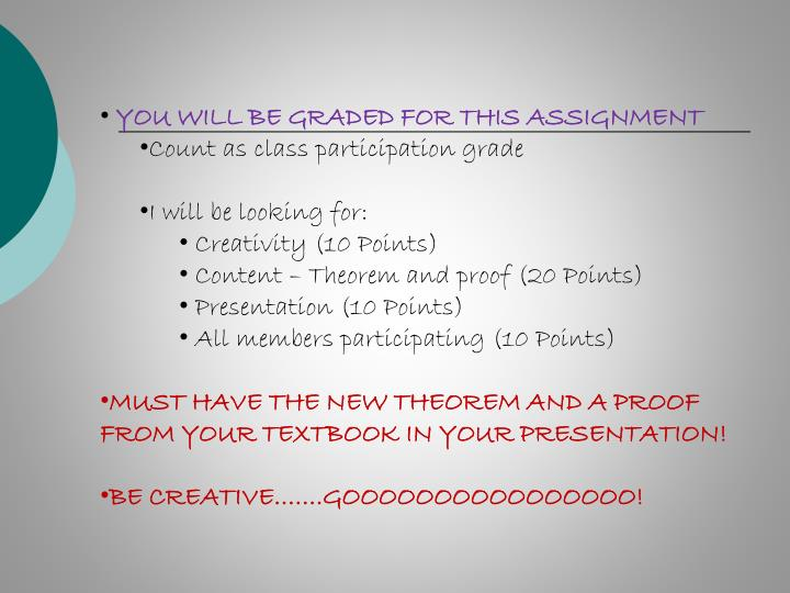 YOU WILL BE GRADED FOR THIS ASSIGNMENT