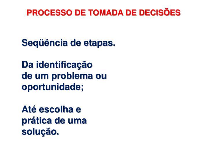 PROCESSO DE TOMADA DE DECISÕES