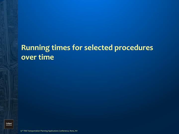 Running times for selected procedures over time