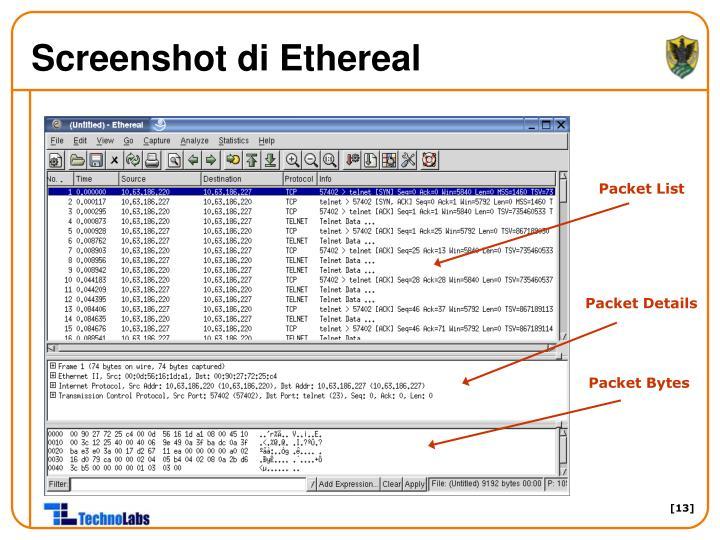 Screenshot di Ethereal