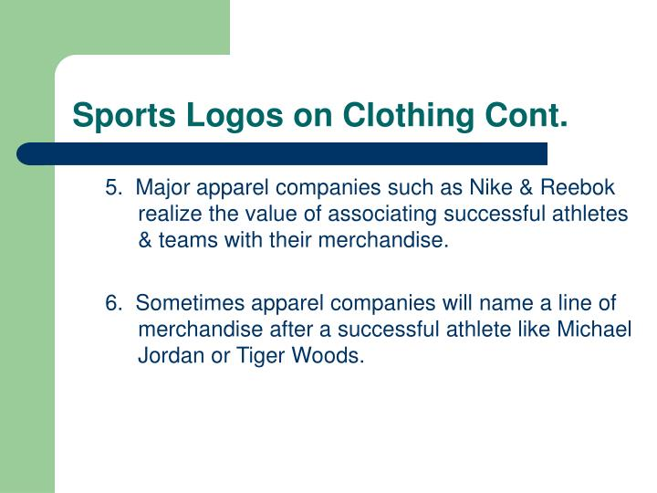 Sports Logos on Clothing Cont.
