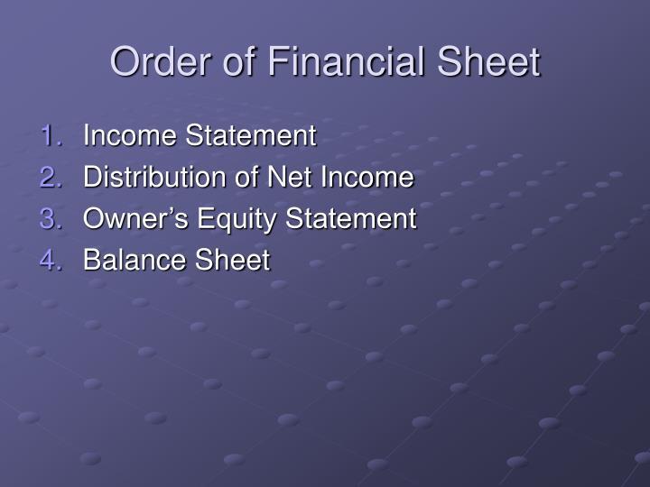 Order of Financial Sheet