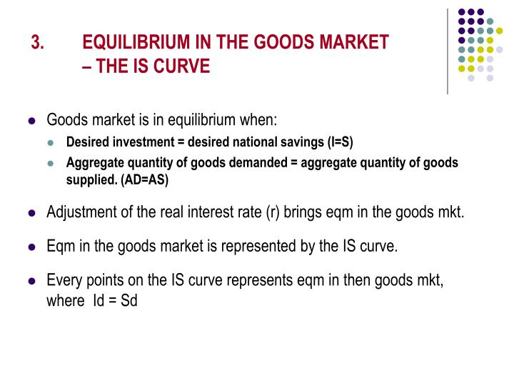 3. EQUILIBRIUM IN THE GOODS MARKET – THE IS CURVE