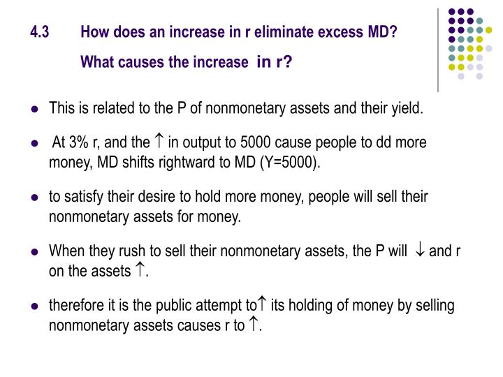 4.3How does an increase in r eliminate excess MD? What causes the increase