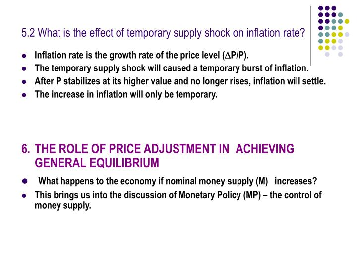 5.2 What is the effect of temporary supply shock on inflation rate?