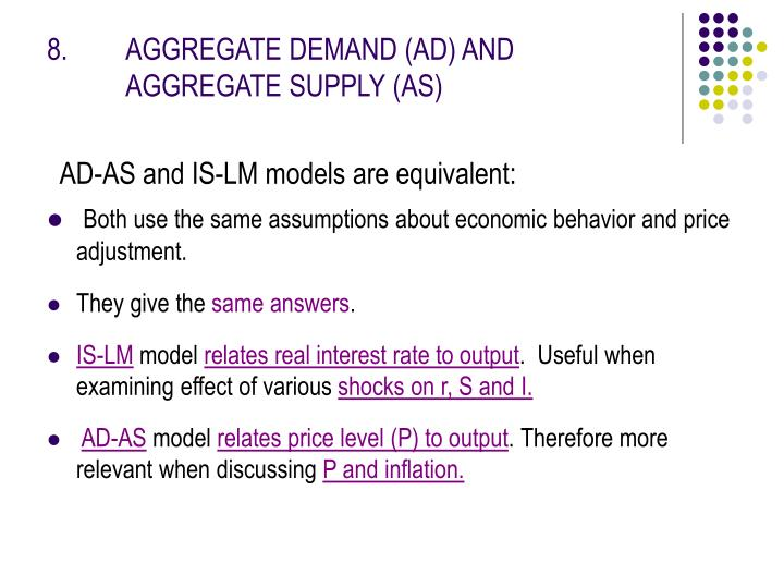 8.  AGGREGATE DEMAND (AD) ANDAGGREGATE SUPPLY (AS)