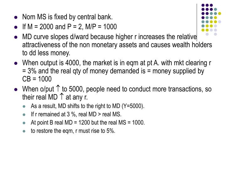 Nom MS is fixed by central bank.