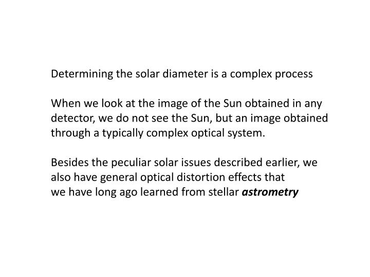 Determining the solar diameter is a complex process