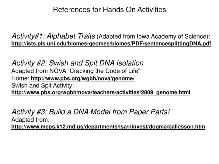 References for Hands On Activities