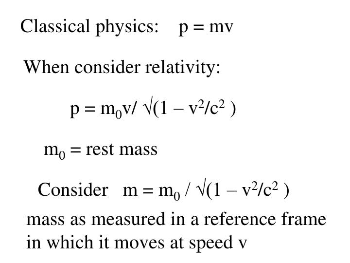 Classical physics:    p = mv