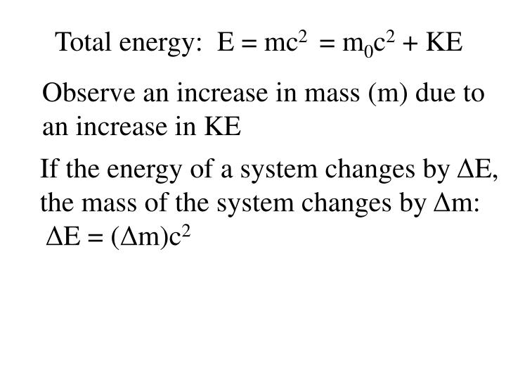 Total energy:  E = mc