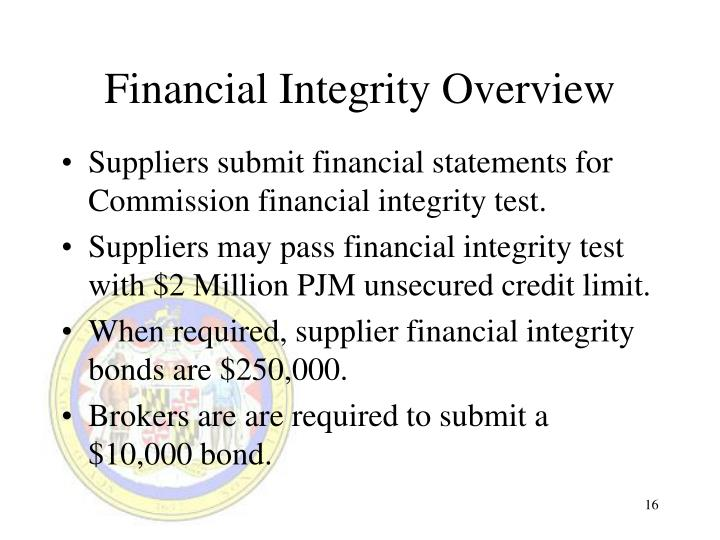 Financial Integrity Overview