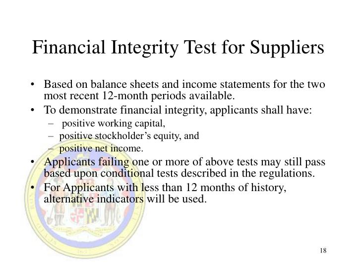 Financial Integrity Test for Suppliers
