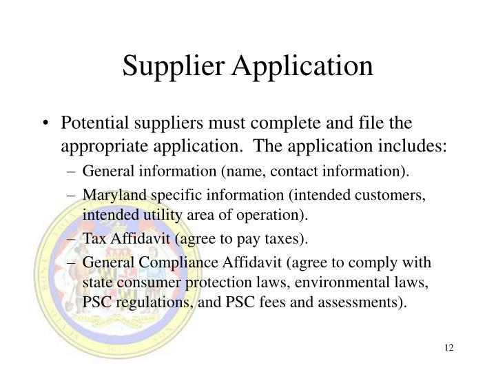 Supplier Application