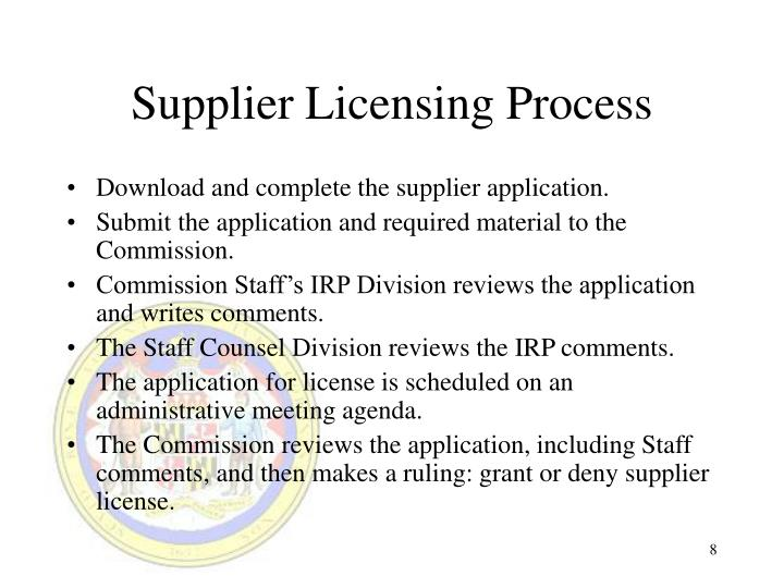 Supplier Licensing Process