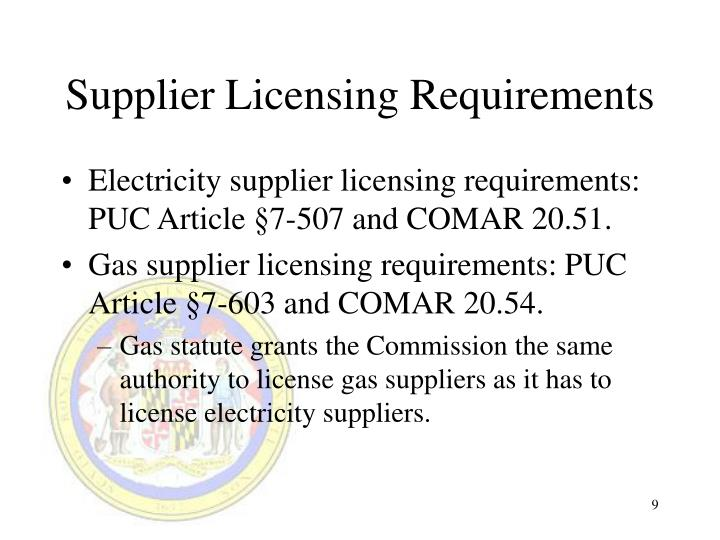 Supplier Licensing Requirements