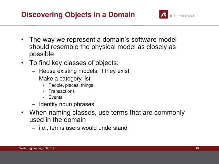 Discovering Objects in a Domain