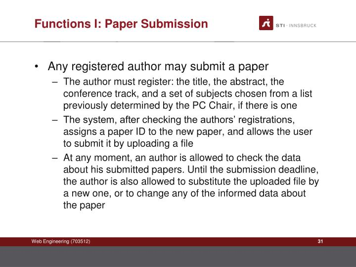 Functions I: Paper Submission
