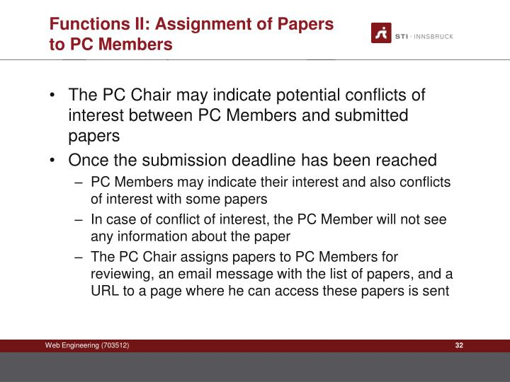 Functions II: Assignment of Papers to PC Members