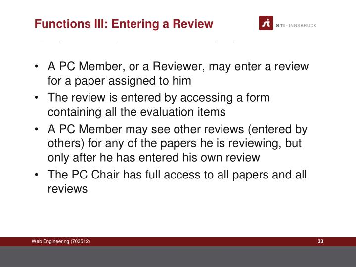 Functions III: Entering a Review