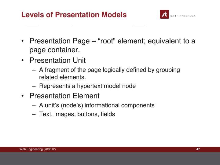 Levels of Presentation Models