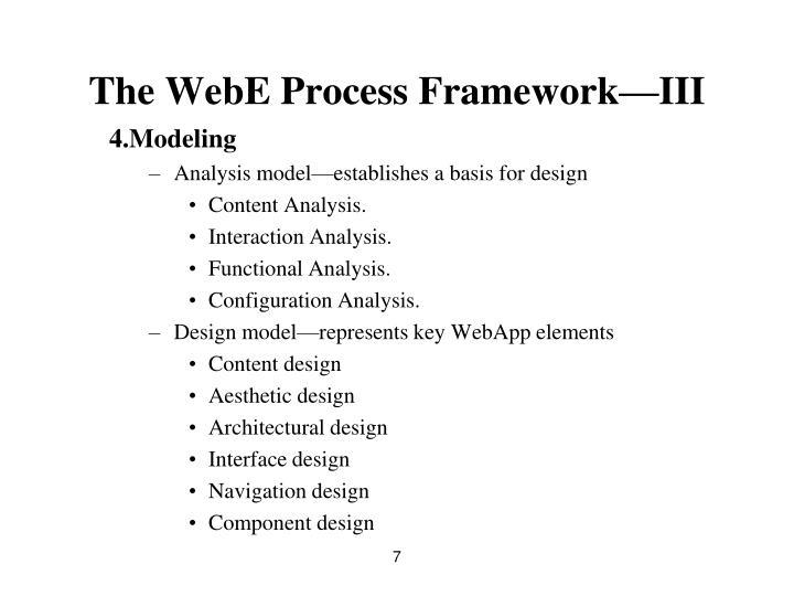 The WebE Process Framework—III