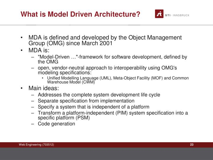 What is Model Driven Architecture?