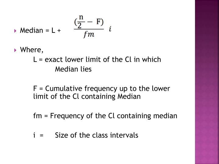 Median = L +