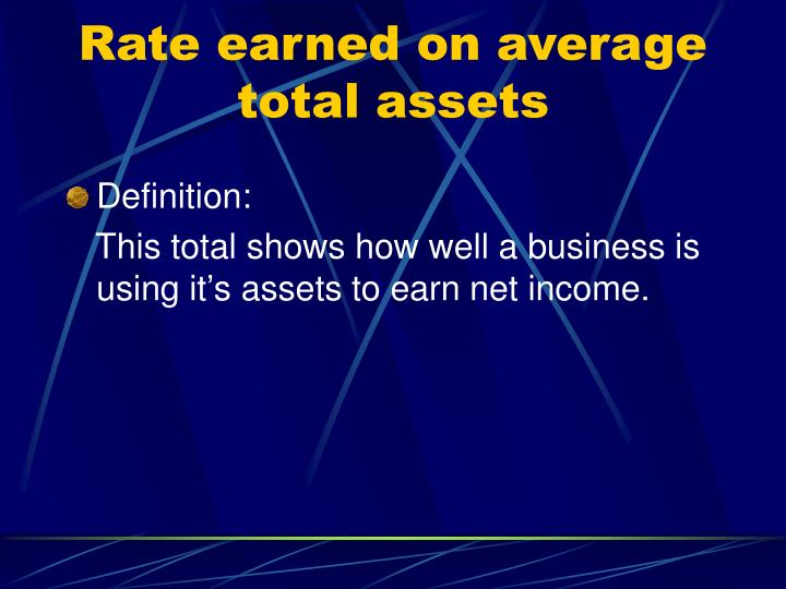 Rate earned on average total assets