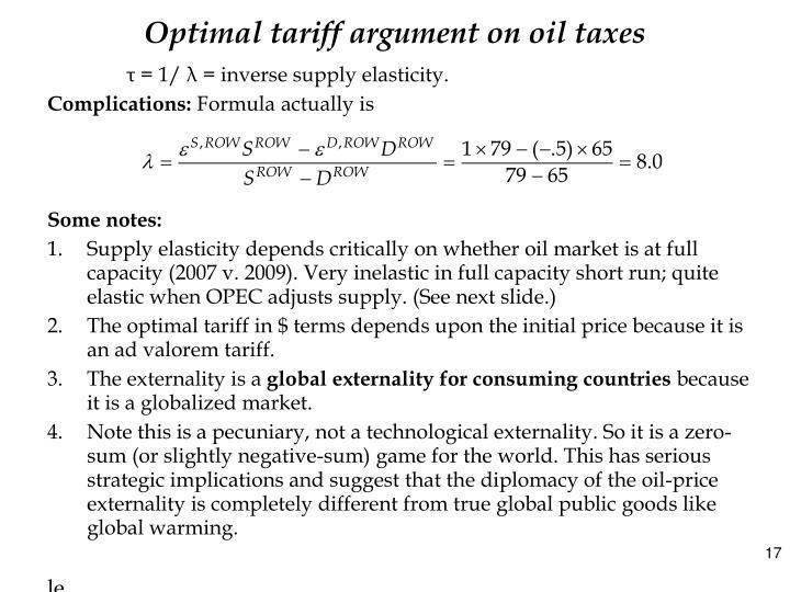 Optimal tariff argument on oil taxes