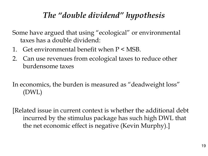 """The """"double dividend"""" hypothesis"""