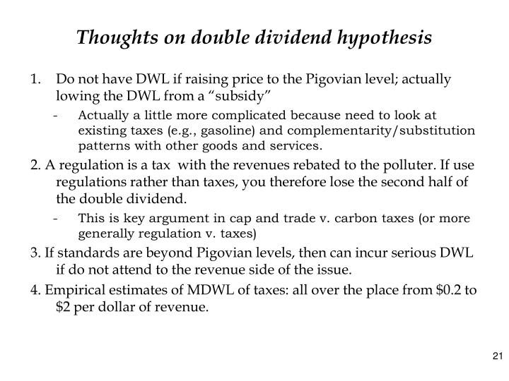 Thoughts on double dividend hypothesis