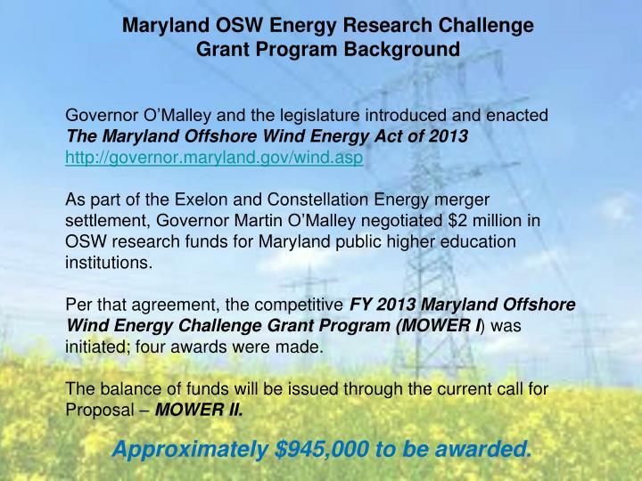 Maryland OSW Energy Research Challenge