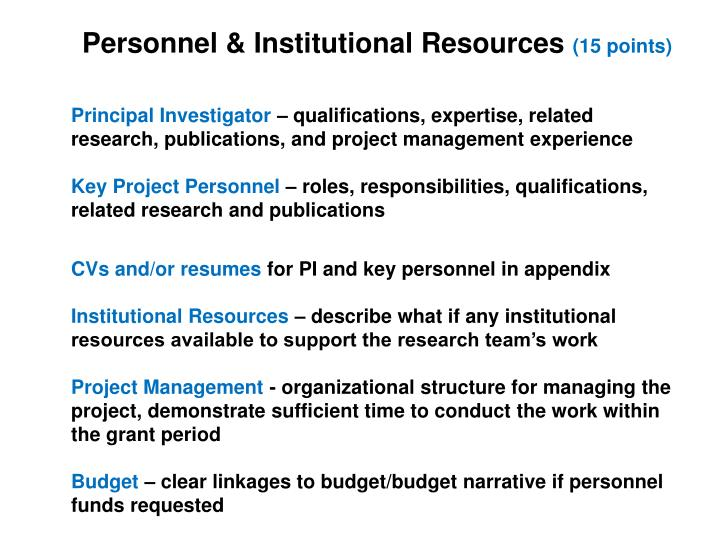 Personnel & Institutional Resources