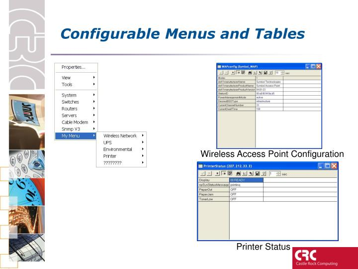 Configurable Menus and Tables