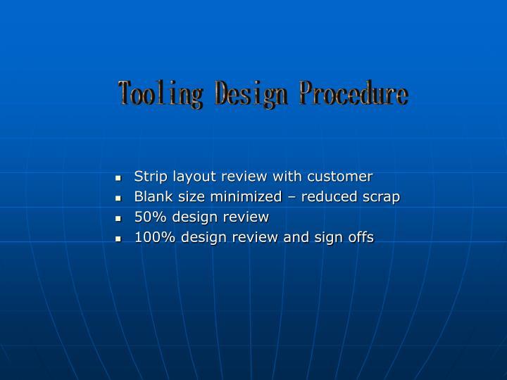 Tooling Design Procedure