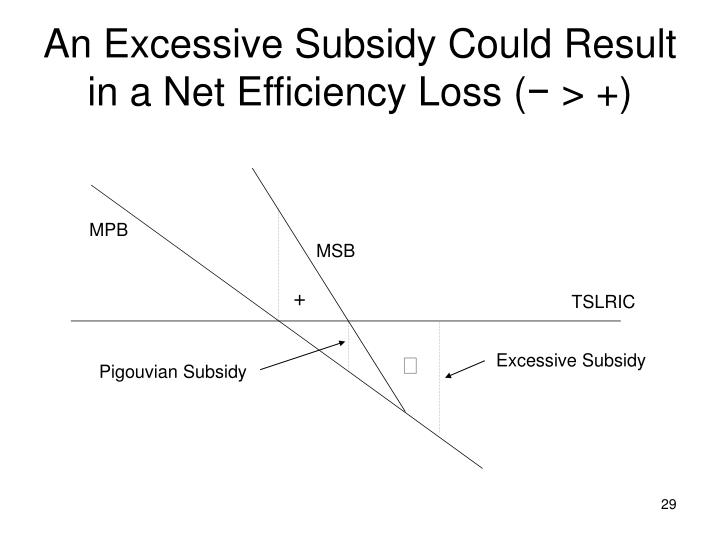 An Excessive Subsidy Could Result in a Net Efficiency Loss (