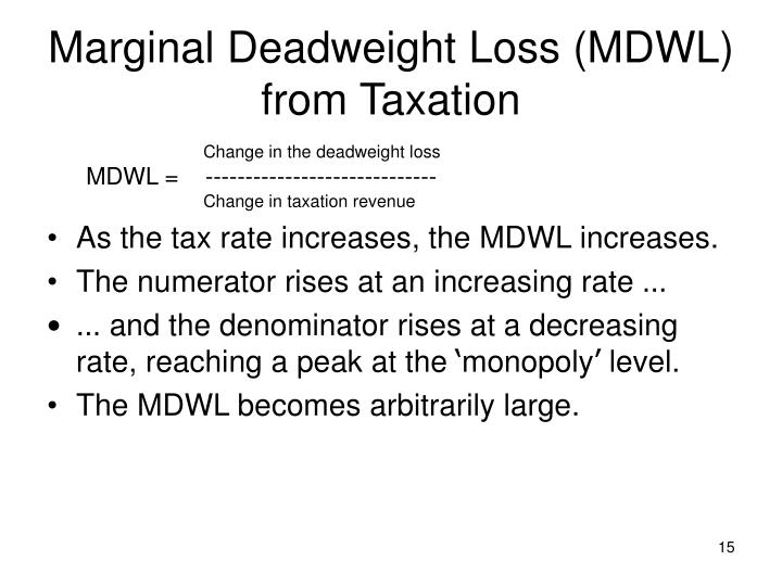 Marginal Deadweight Loss (MDWL) from Taxation