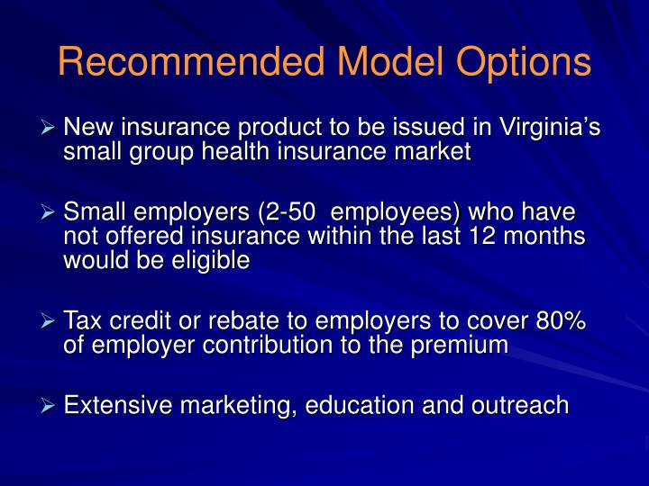 Recommended Model Options