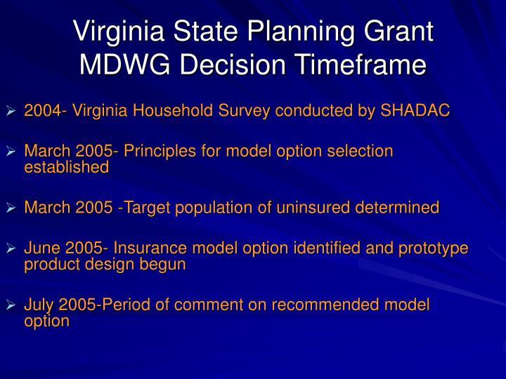 Virginia State Planning Grant