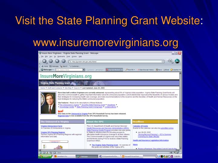 Visit the State Planning Grant Website